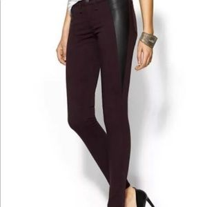 Rag & Bone burgundy and leather pants